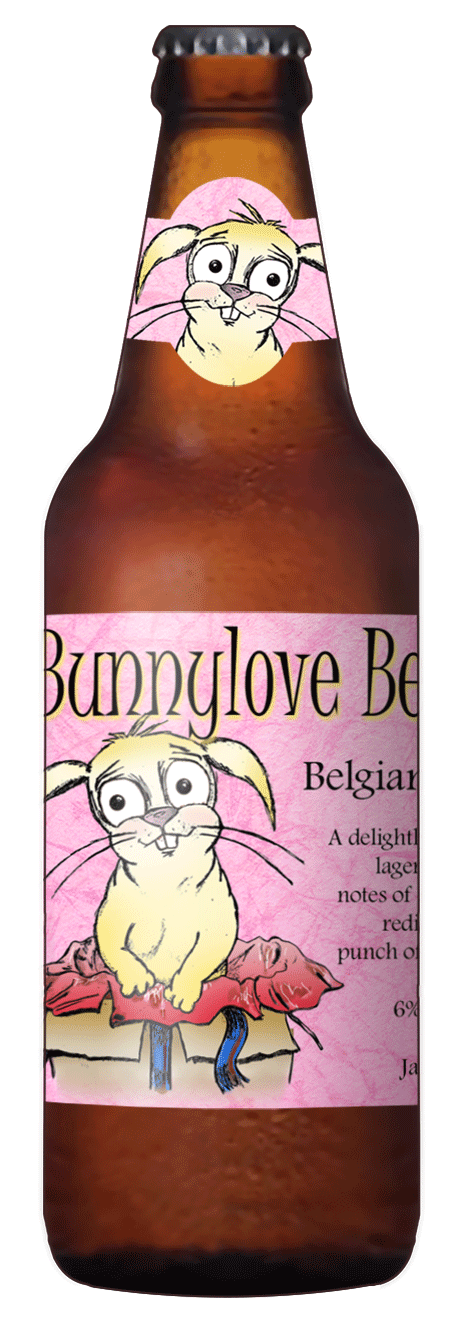 custom beer label with cute bunny rabbit