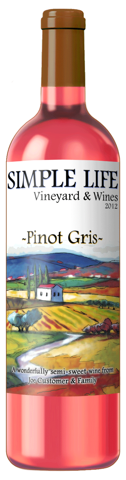custom wine label with image of rolling hills