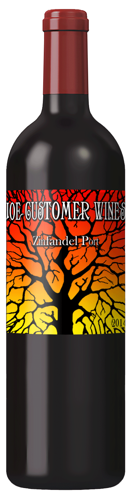 custom personalized wine label of black tree against colorful background