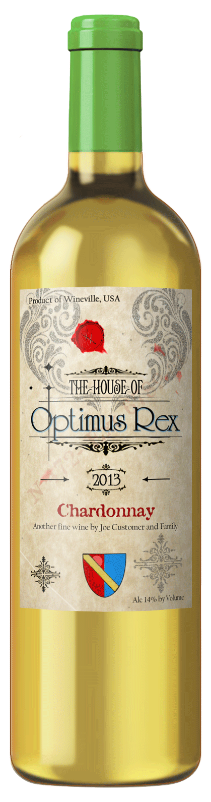 custom wine label of French style design