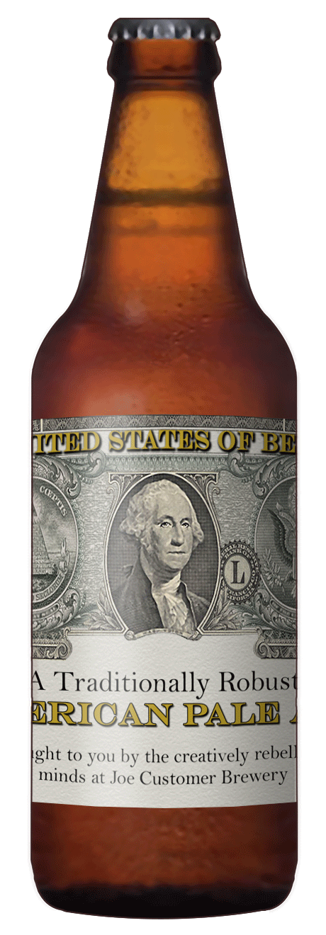 custom beer label with image of faux U.S. dollar