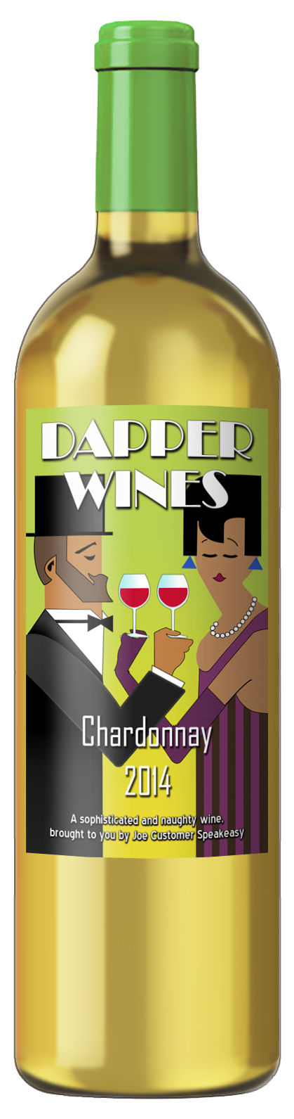 personalized custom wine label of 20's era couple in formal wear toasting with wine glasses