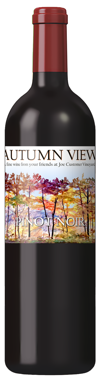 custom wine label with abstract colorful autumn trees