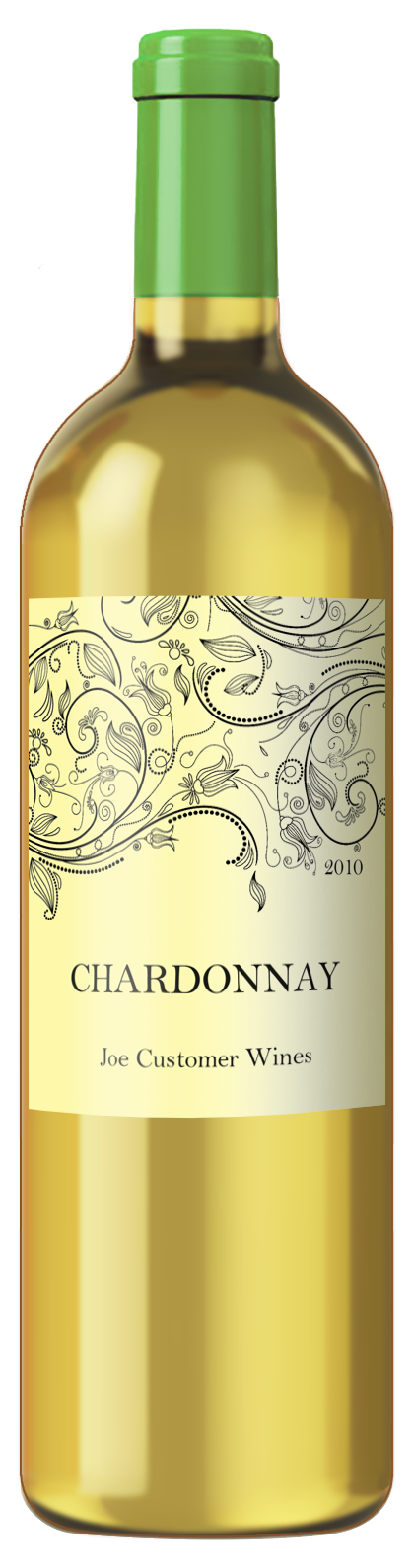 elegant custom wine label with line drawing of flowers