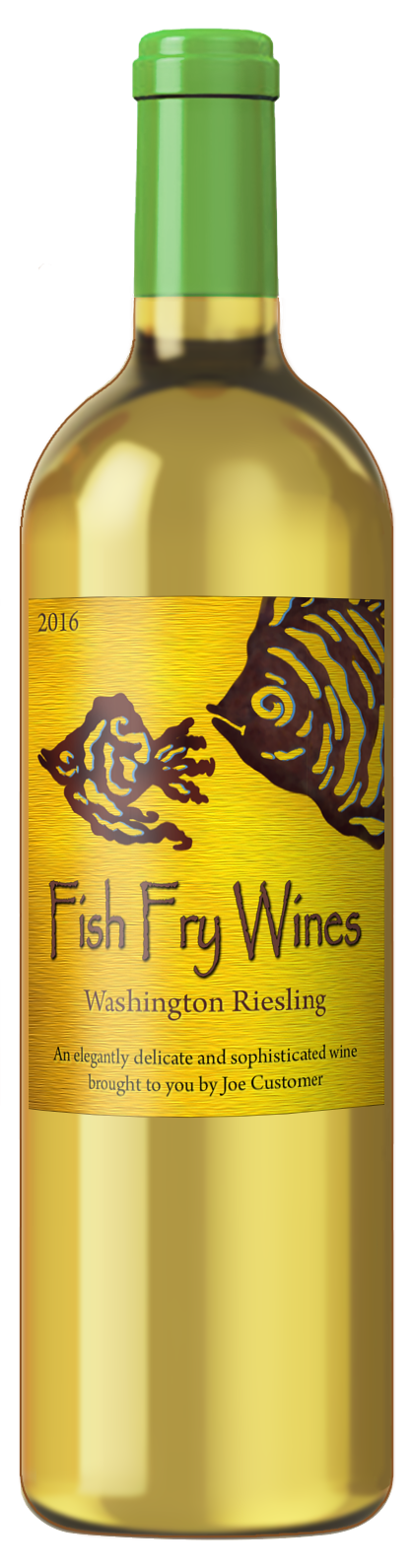 custom wine label with bright yellow background and abstract fish