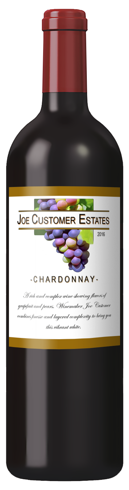 custom wine label with grapes and gold bands