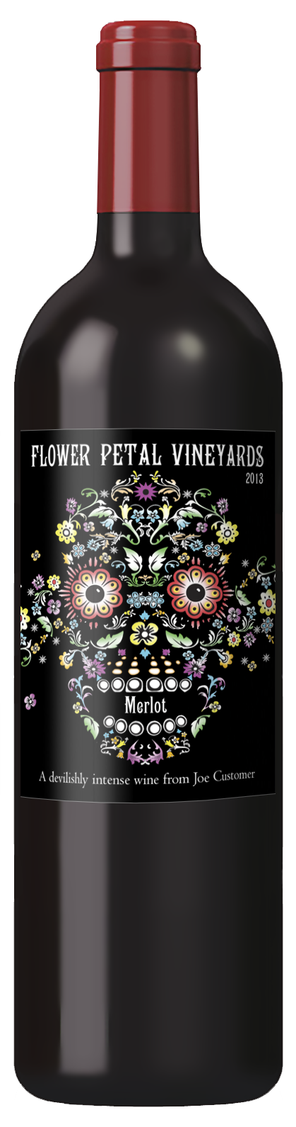 personalized custom wine label of skull made of flowers