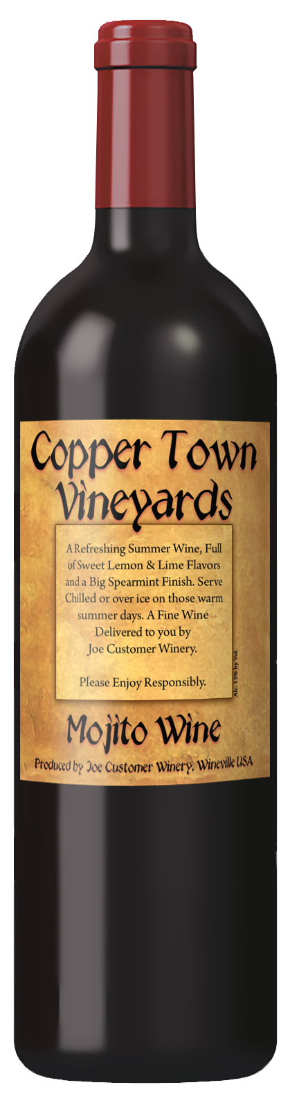 hammered copper custom wine label