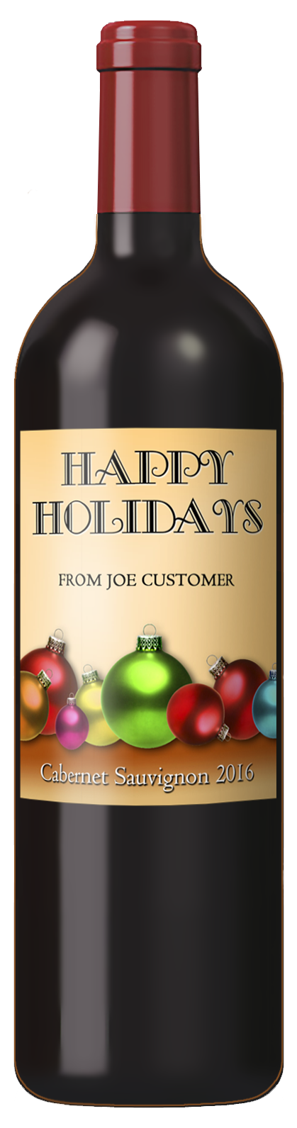 Christmas custom wine label with shiny Christmas ornaments