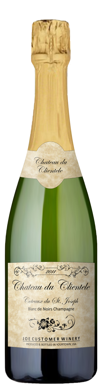parchment custom wine label for sparkling wine and champagne