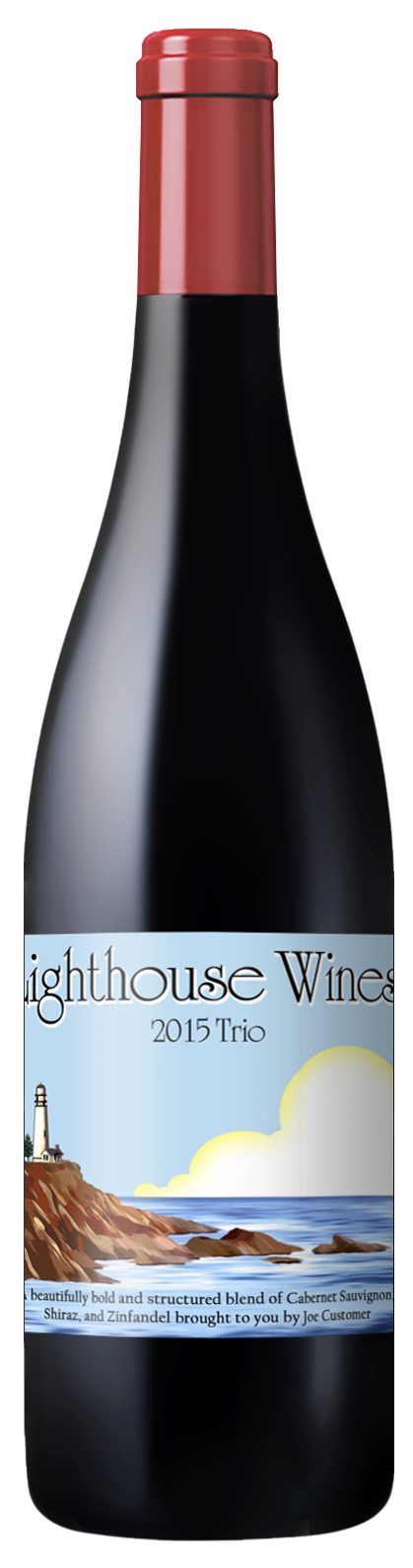 custom wine label with illustration of lighthouse on a cliff
