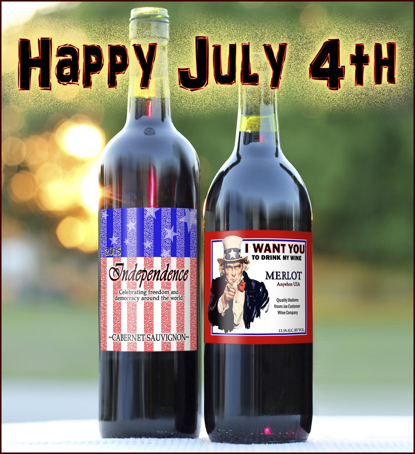 Stars and Stripes and Uncle Sam Custom Wine Labels with a sunny background