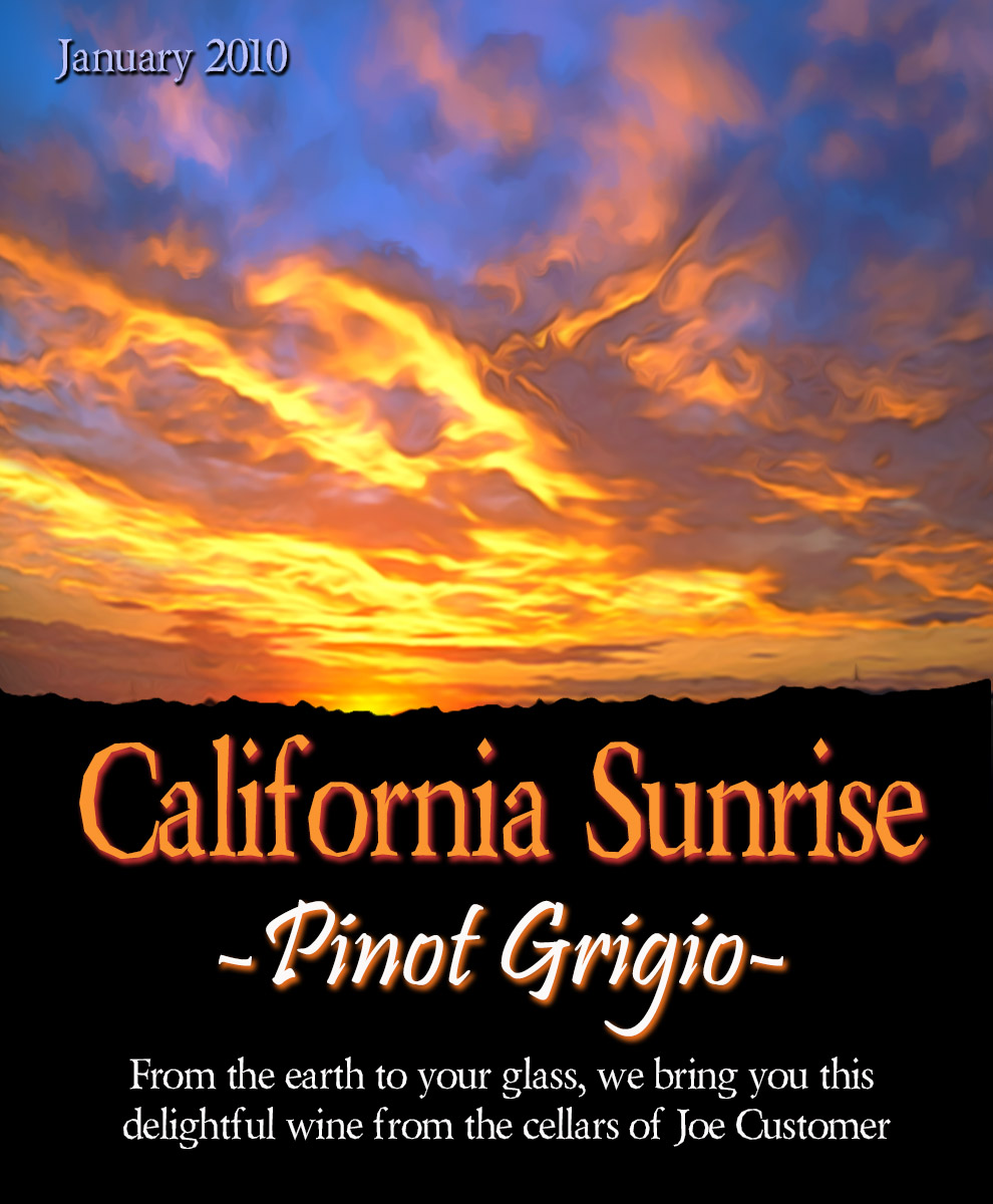 Custom wine label with a beautifully colorful sunset and a black silhouetted horizon