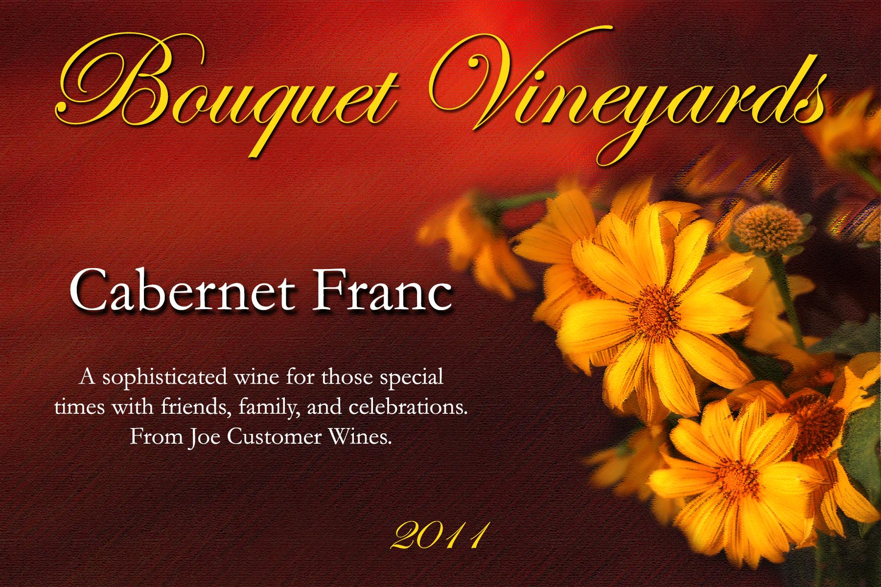 custom wine label with yellow flower photograph