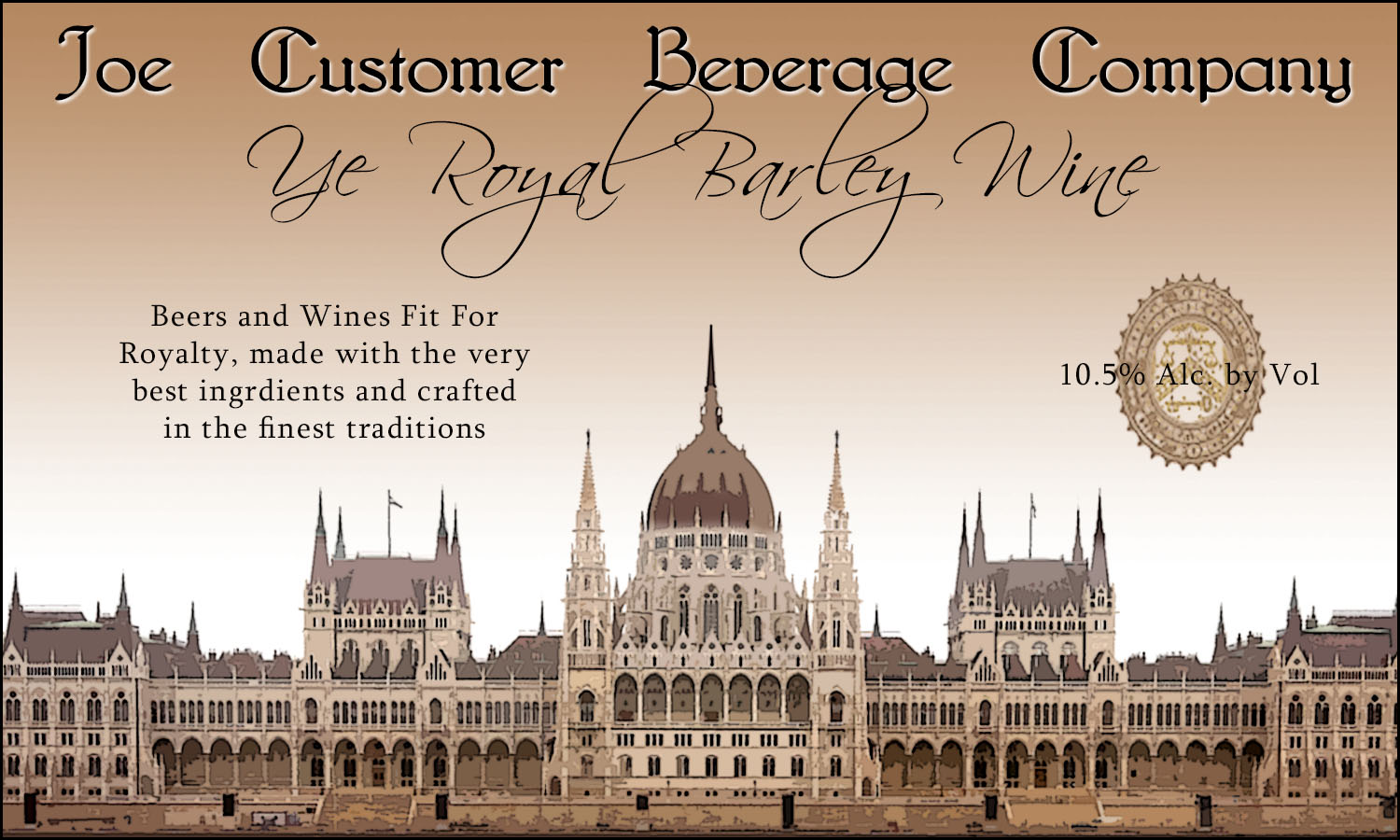 custom reusable beer label with illustration of faux money bill showing castle