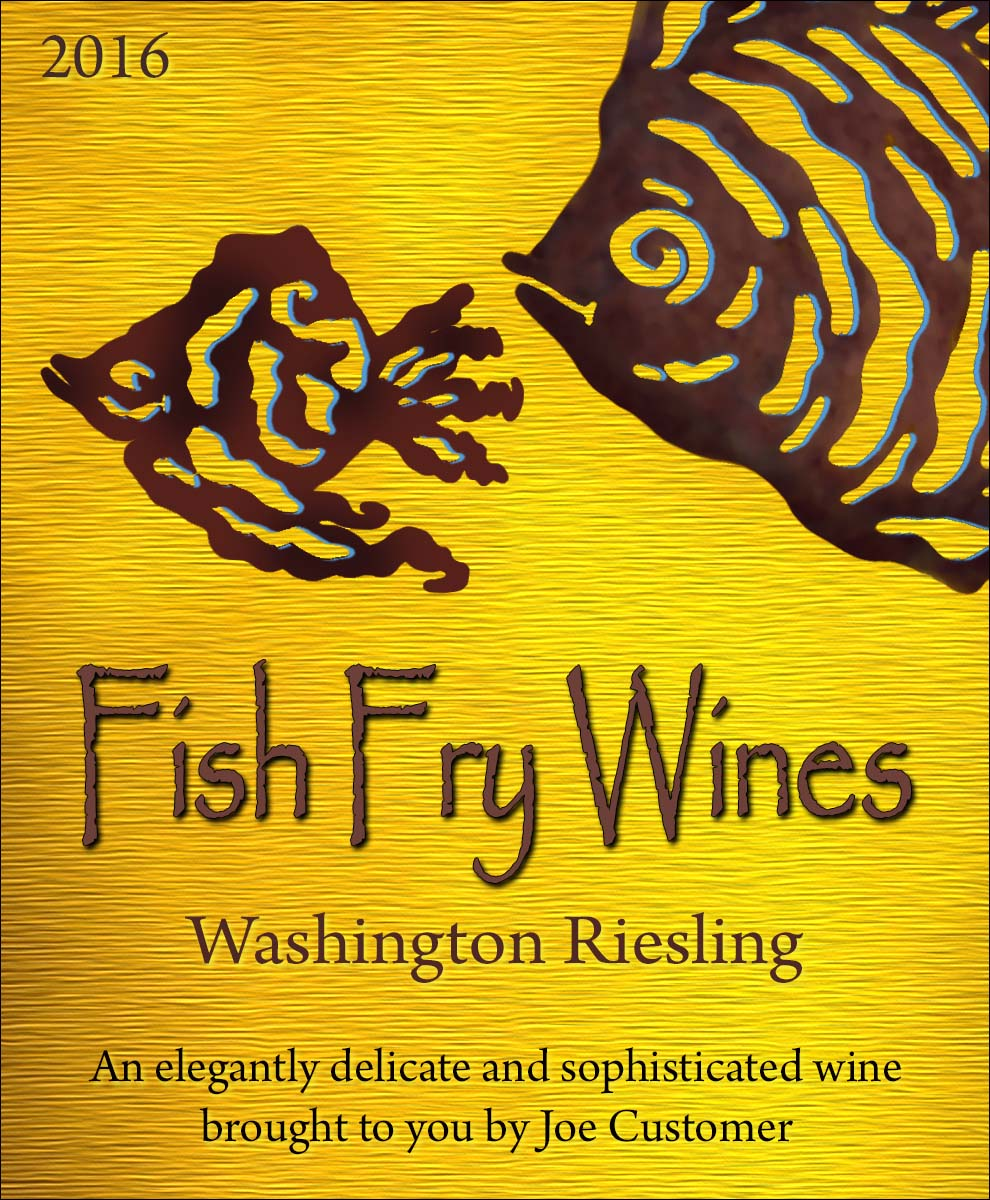 Colorful fish custom personalized wine and beer label