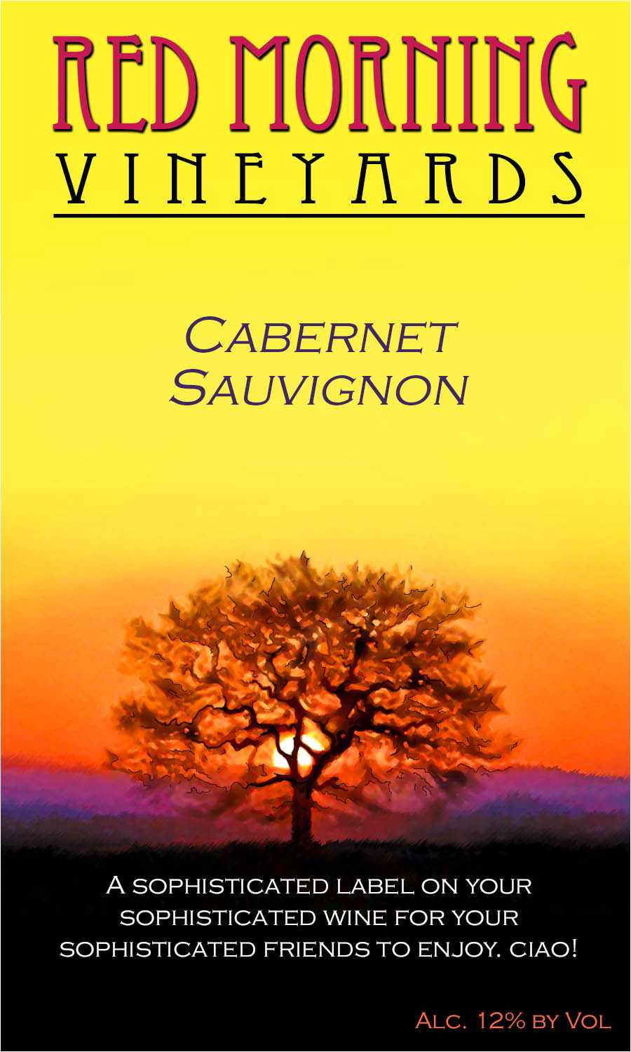custom wine label showing a colorful setting sun behind a silhouetted tree