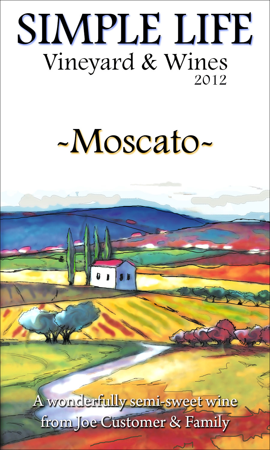 custom wine label with colorful Italian hillside