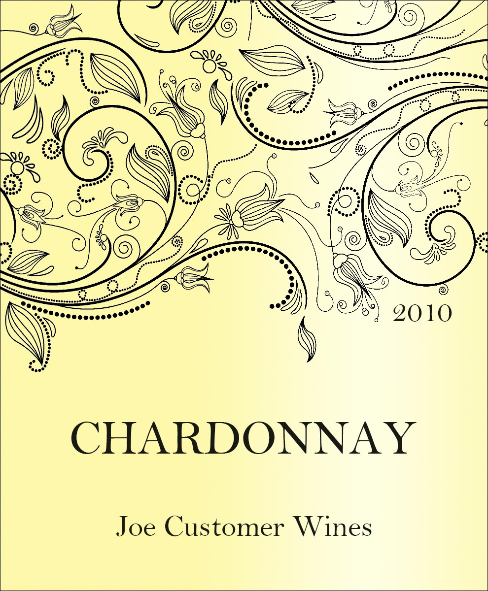 reusable custom wine label with shiny yellow background and elegant swirly flowers