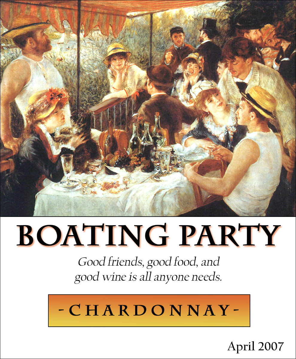 custom wine label with Renoir's Luncheon of the Boating Party painting