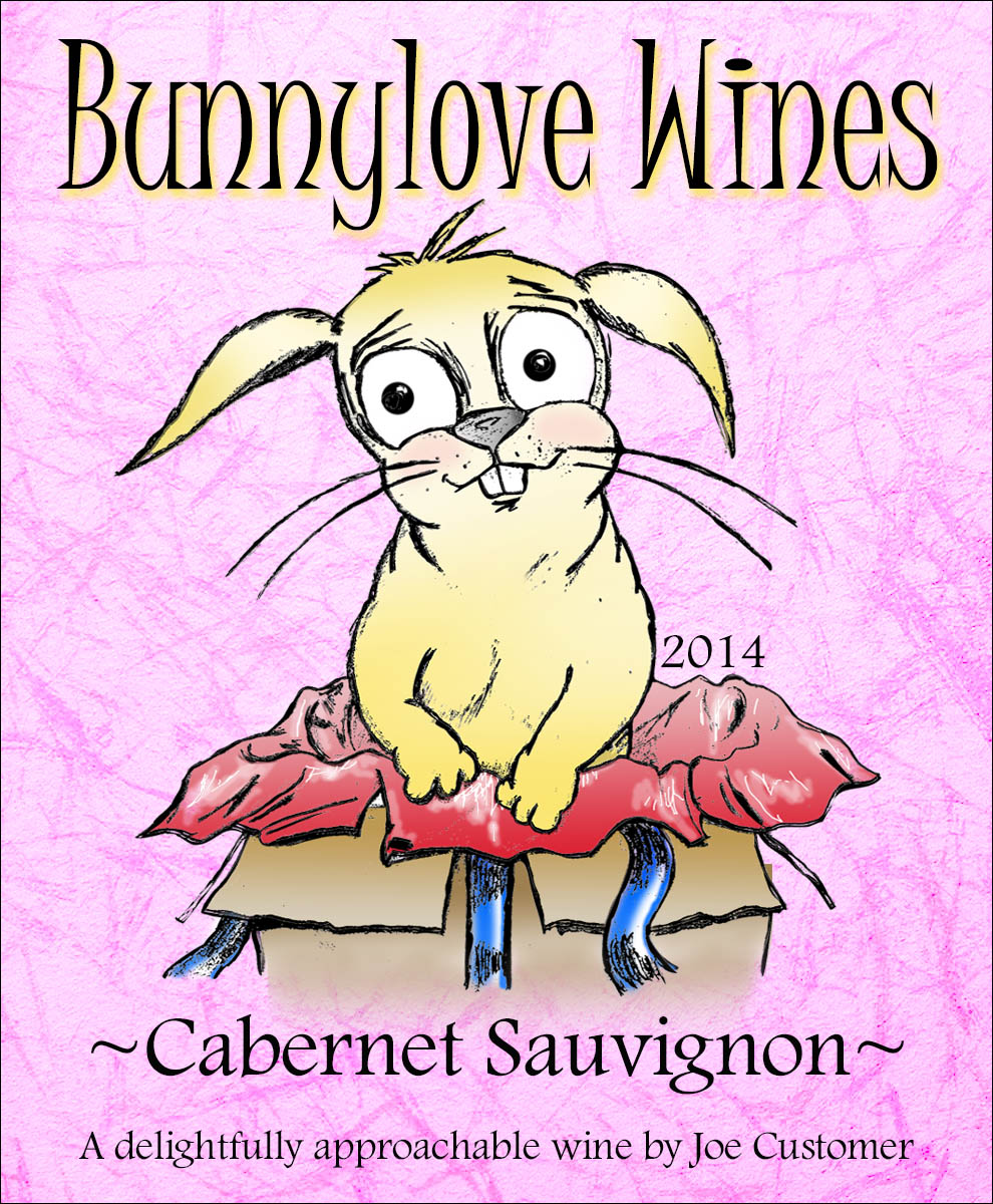 custom wine labels with cute bunny popping out of a gift box