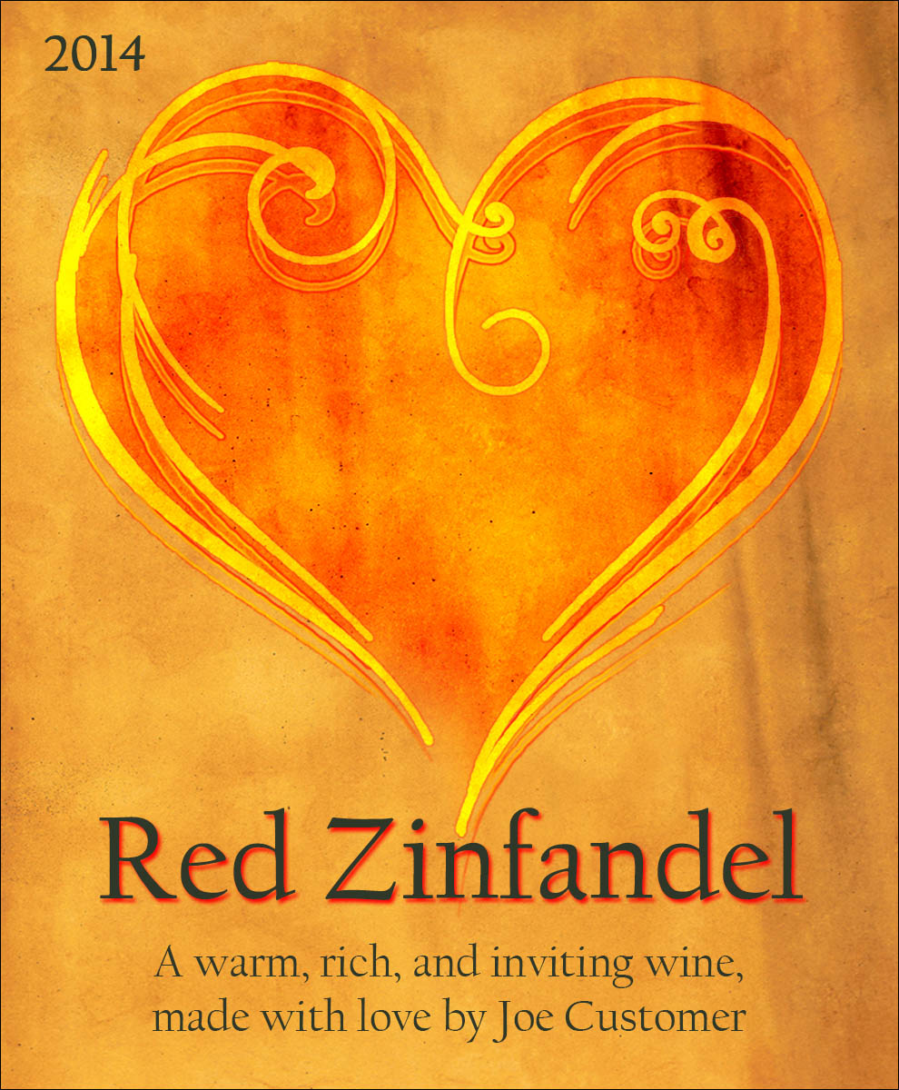 custom wine label of a swirly and colorful red and gold heart design