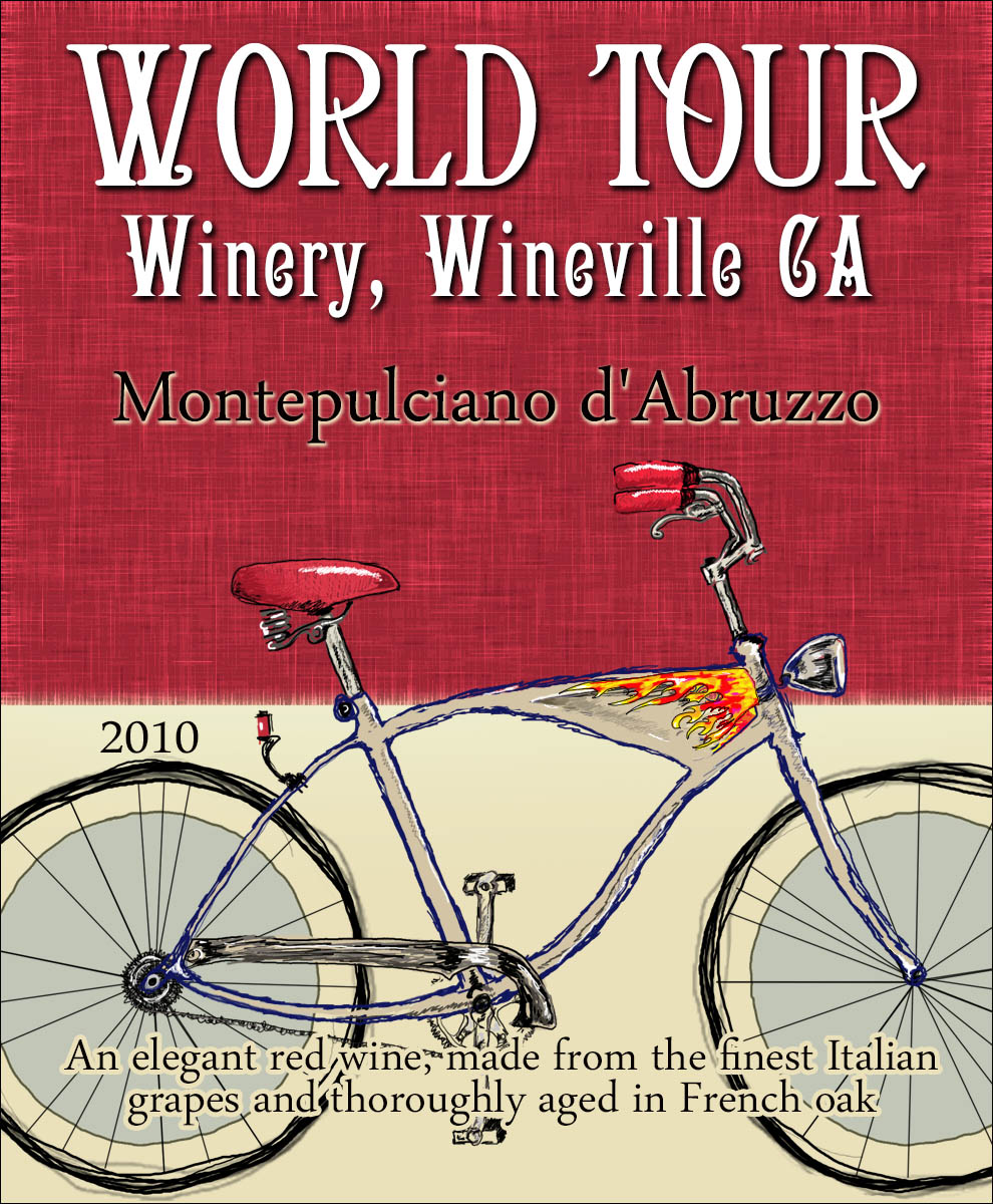 Custom wine label of a classic Art Nouveau style bicycle illustration