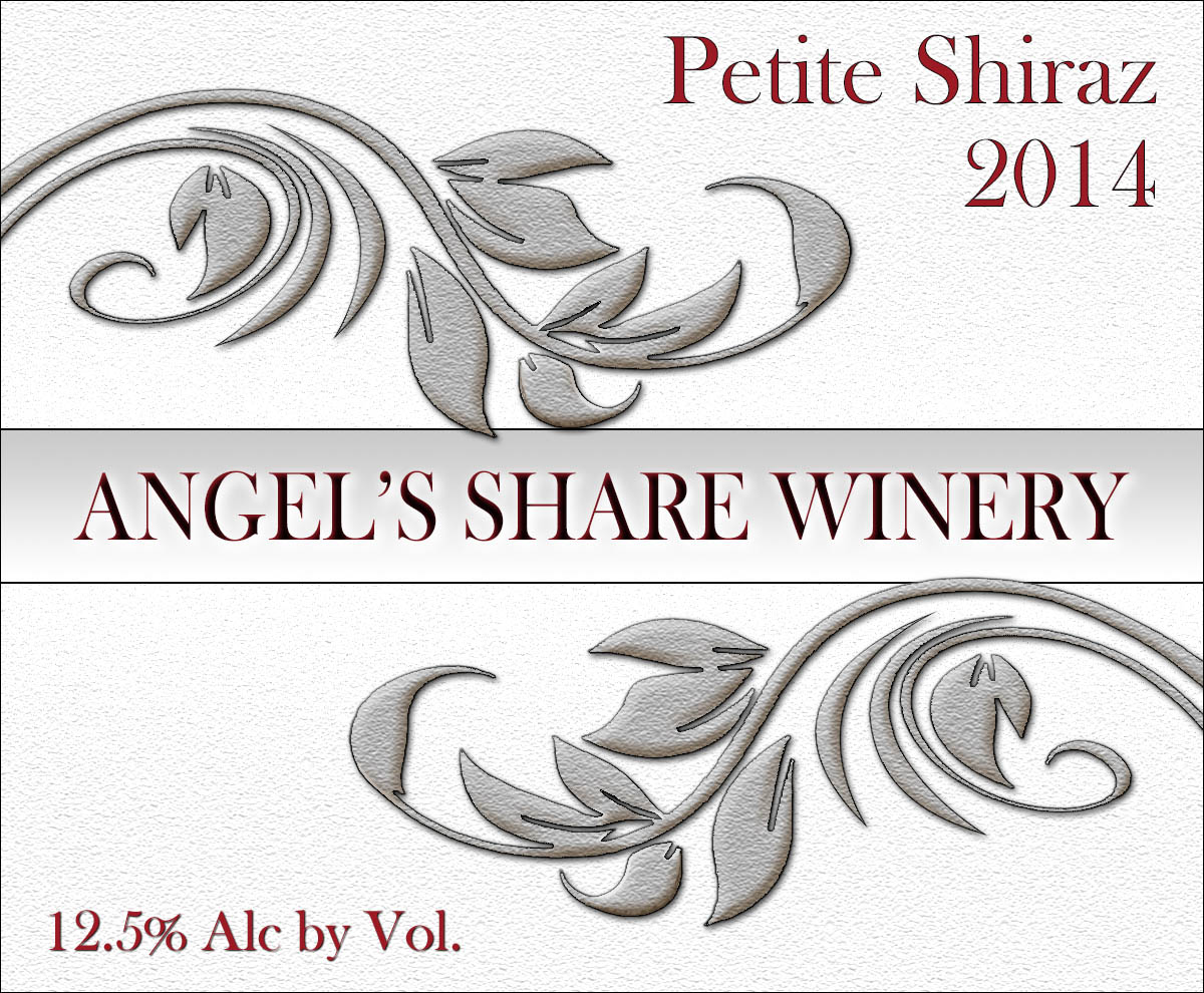 swirly custom reusable wine label with elegant curved silver leaves