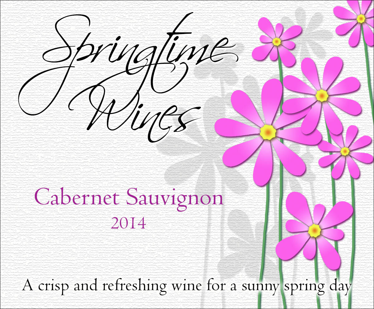 custom wine label with bright purple happy flowers