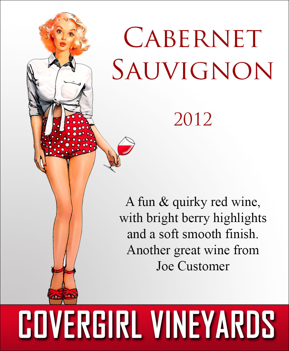Custom reusable wine label with modern style pin-up girl holding a glass of wine
