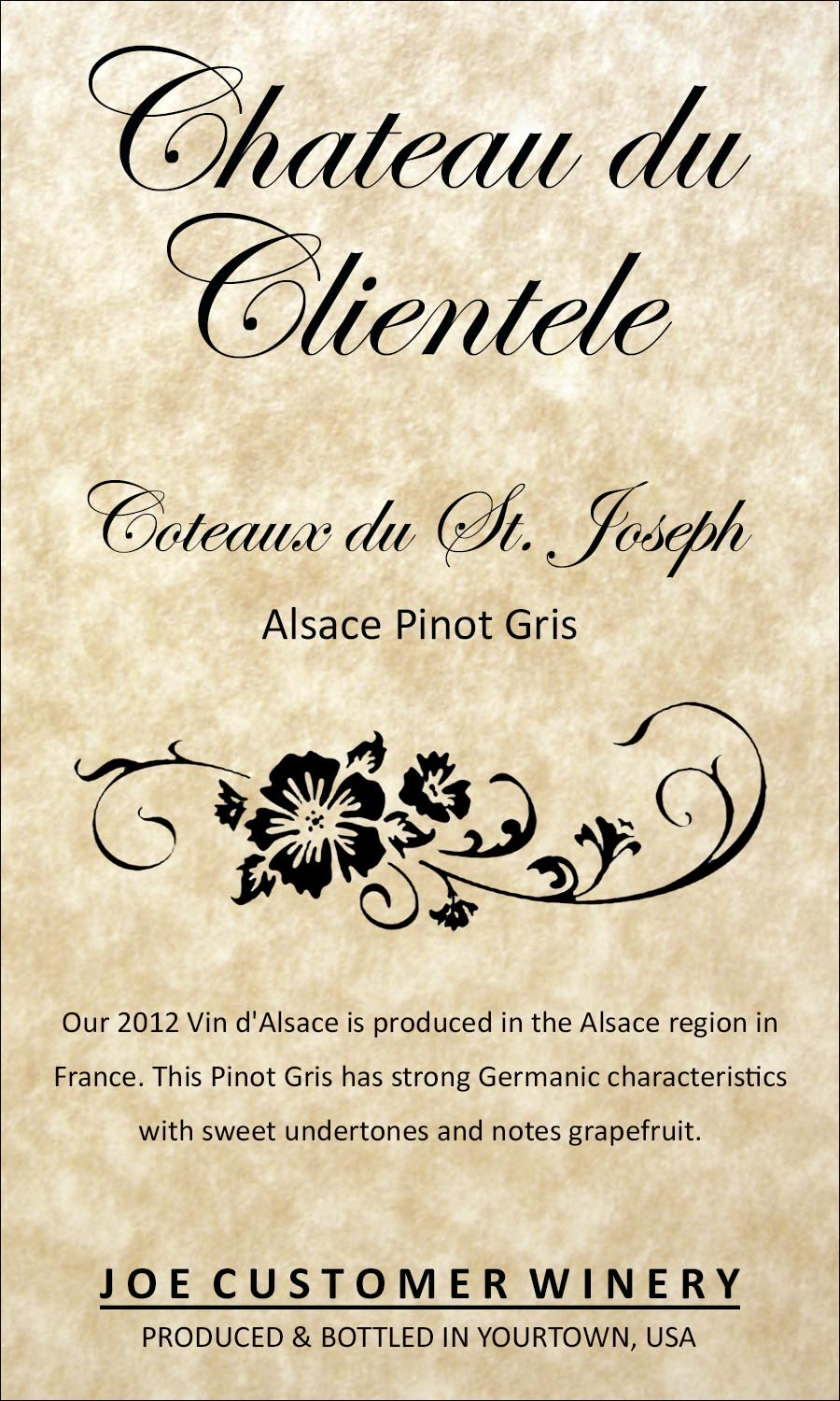 Classic French reusable custom wine label featuring elegant script and design, on parchment paper
