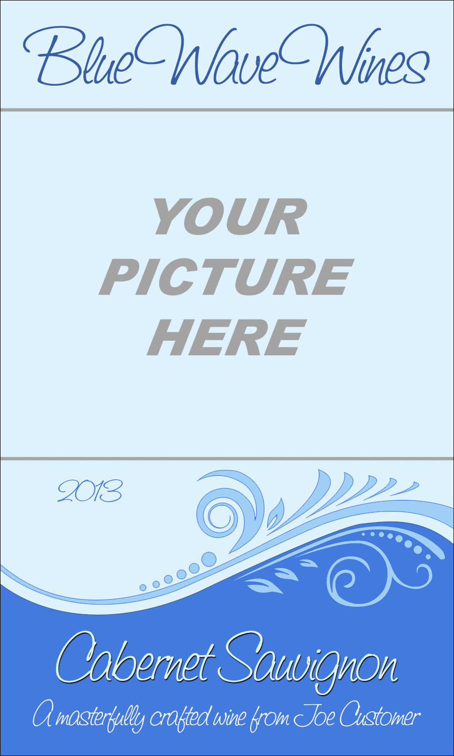 custom wine label intended for you to upload your own image, with blue background and swirly design