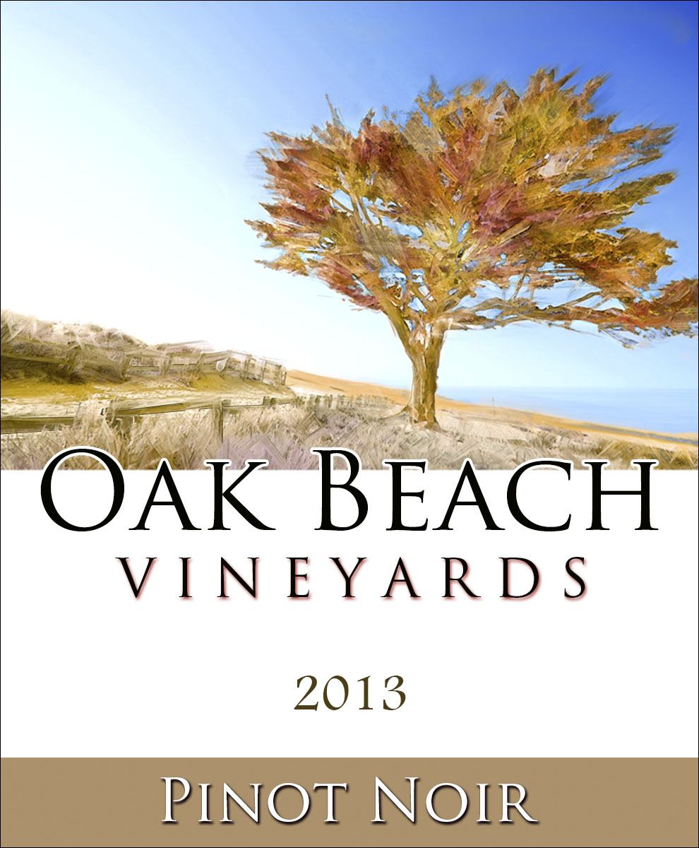 custom personalized wine label with colorful watercolor tree on a beach
