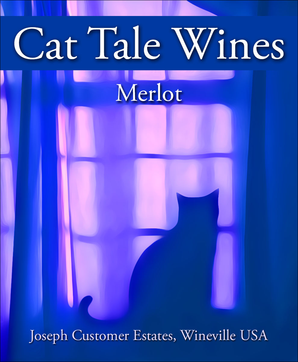 a blue cat looking out a window custom wine label