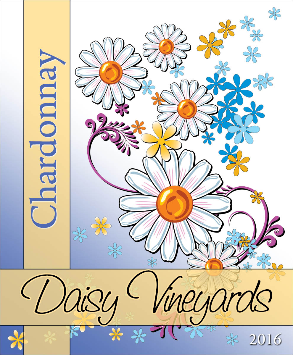 Custom wine labels with bright daisy flowers and gold ribbons