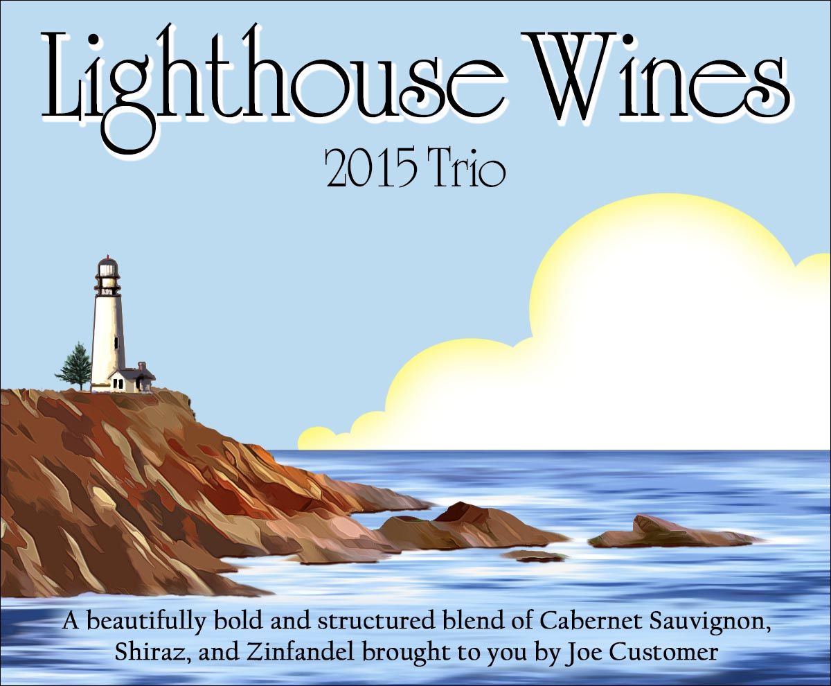 Lighthouse illustration with a sunny sky on these custom wine labels