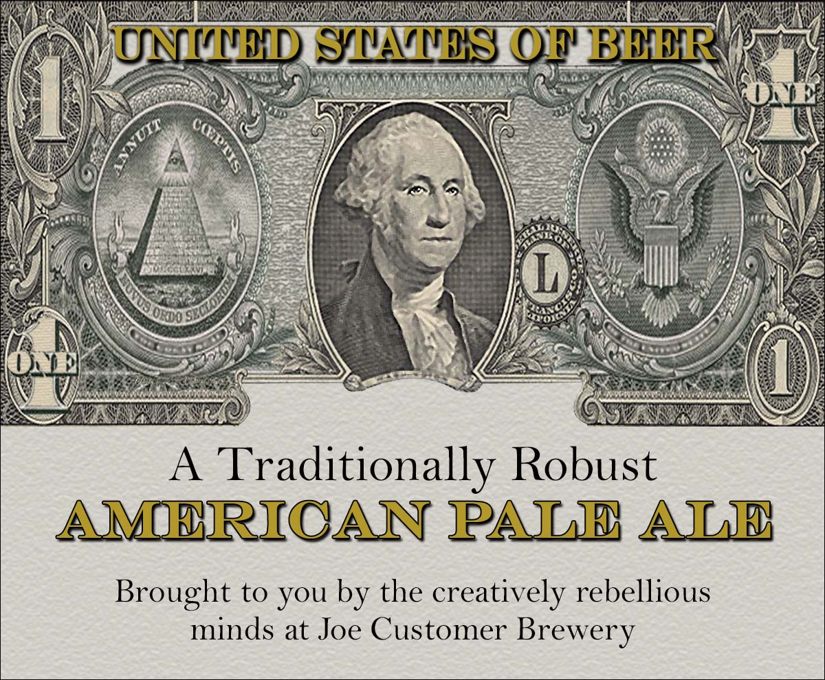 A dollar bill reusable custom beer label