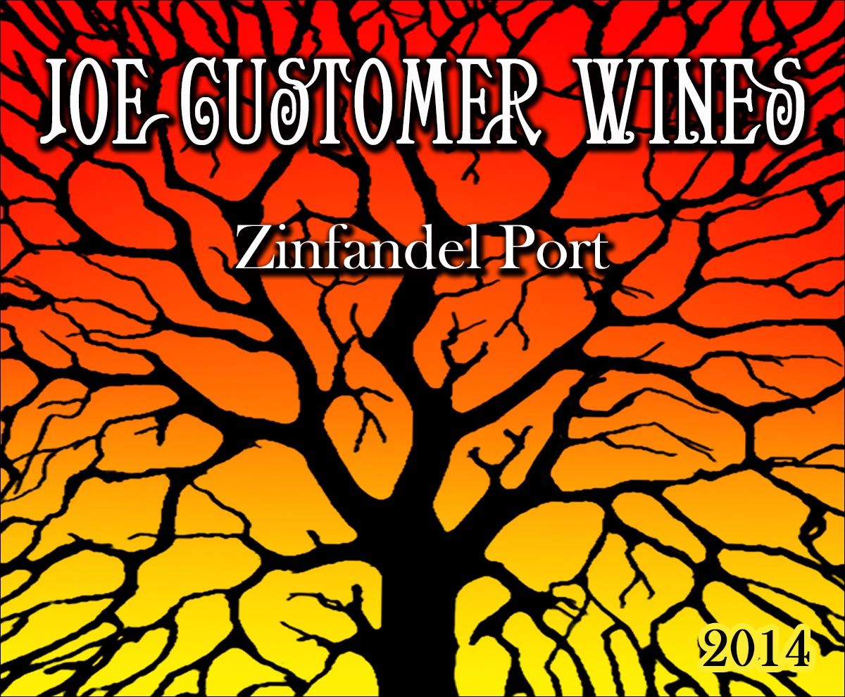 custom personalized wine label of silhouetted tree with fiery colors in background