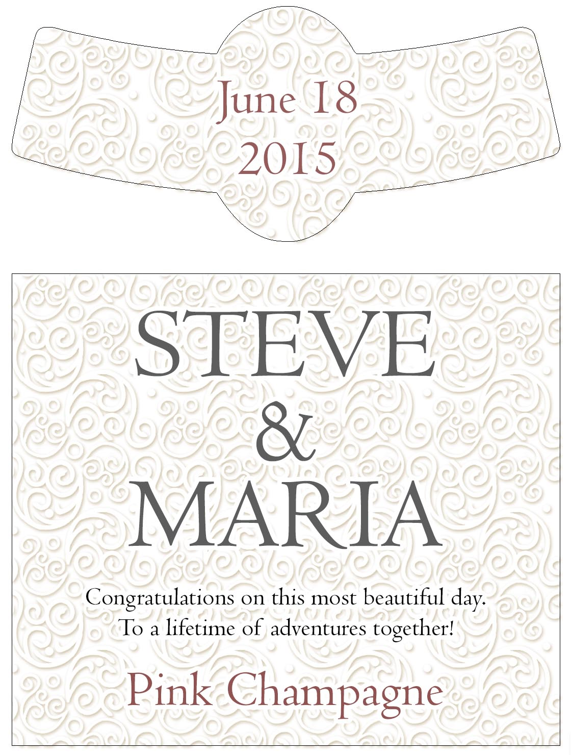 A swirly design custom wedding wine labels on a pure white background