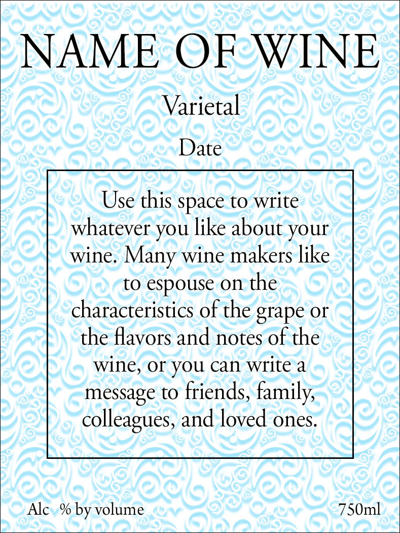 blue swirls on reusable custom wine label