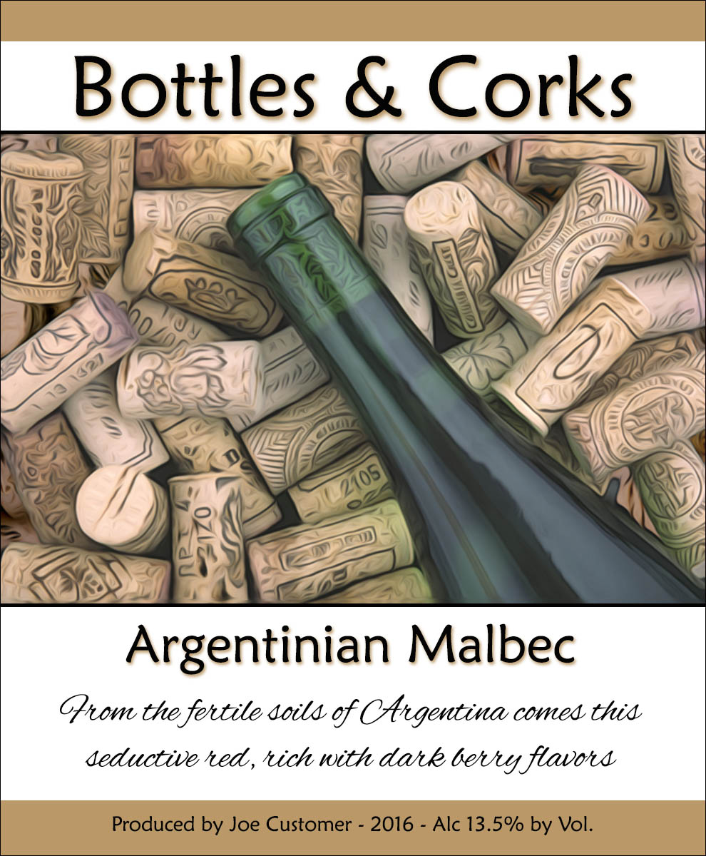 corks and wine bottle reusable custom wine label