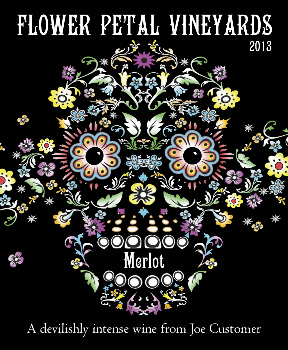 Custom personalized wine label of a skull made of flowers
