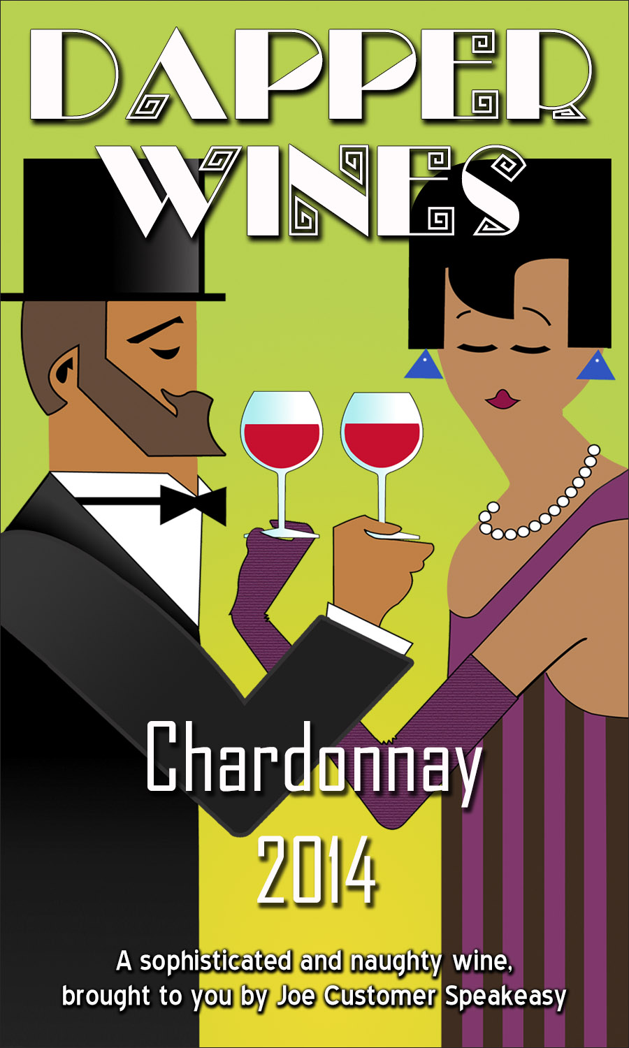 custom wine label showing Art Deco inspired artwork of man and woman in formal dress with wine glass