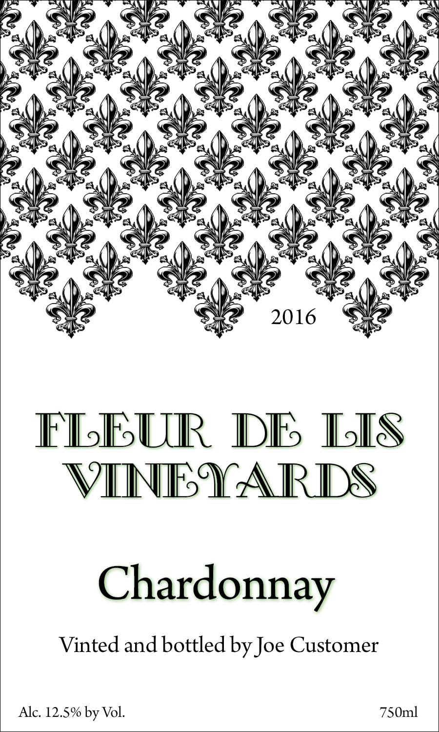 Fleur de Lis reusable custom wine label