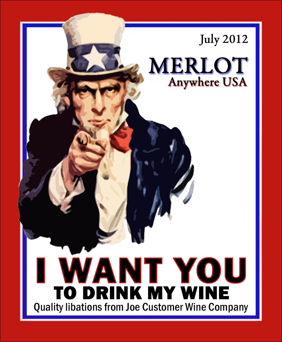 Uncle Sam red white and blue reusable custom wine and label