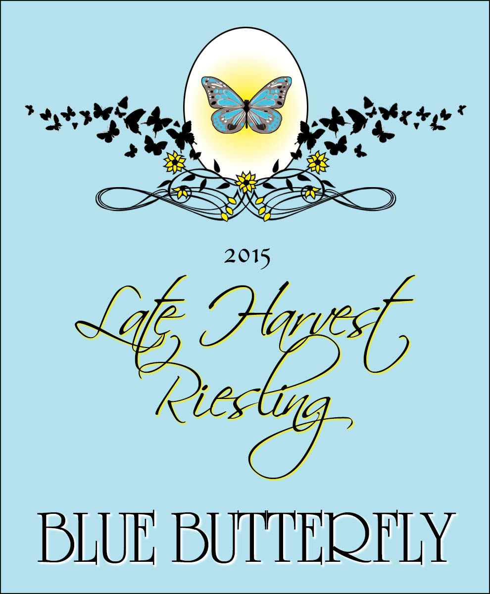 custom personalized wine label with blue background and butterflies