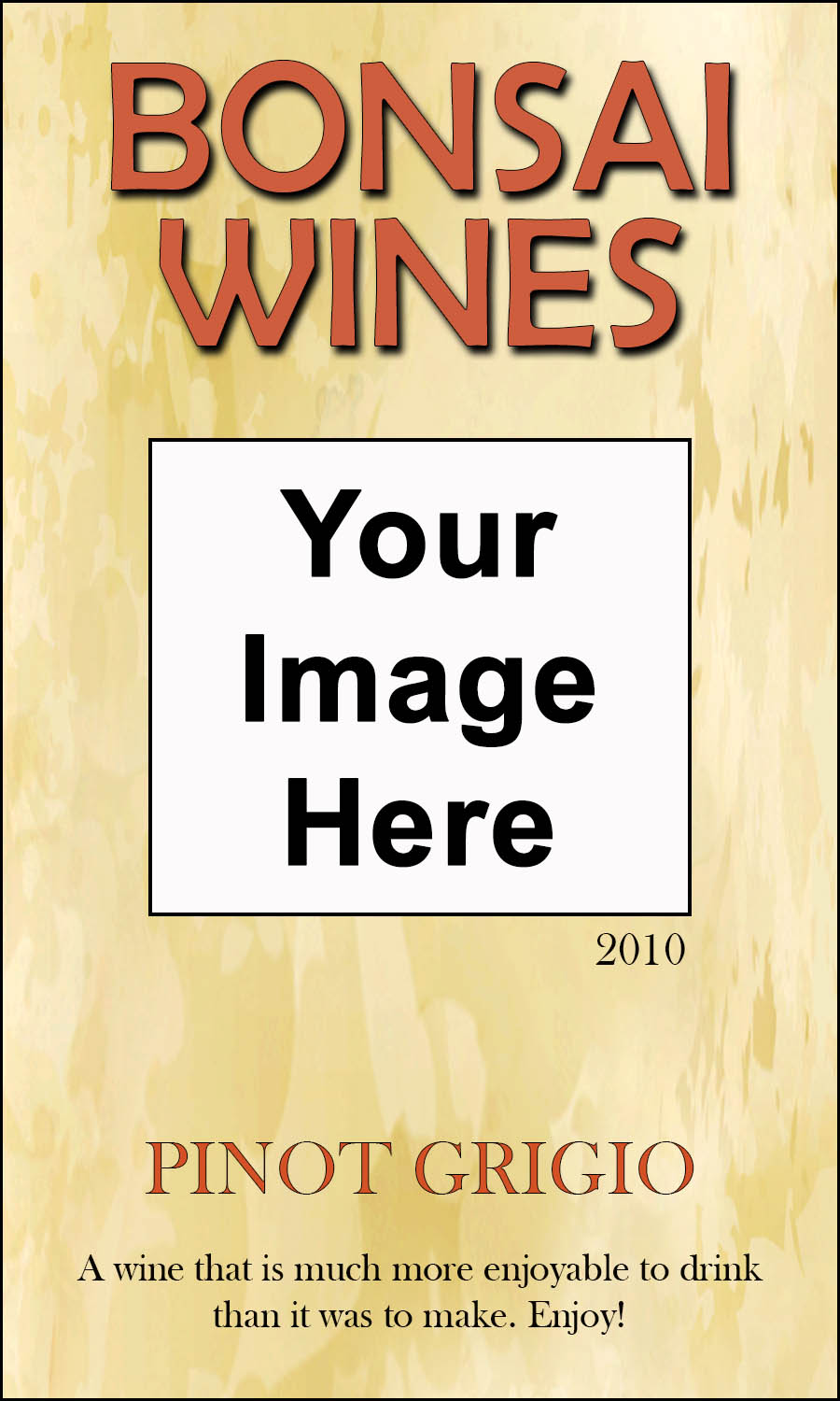Tan pattern background on a reusable custom wine label