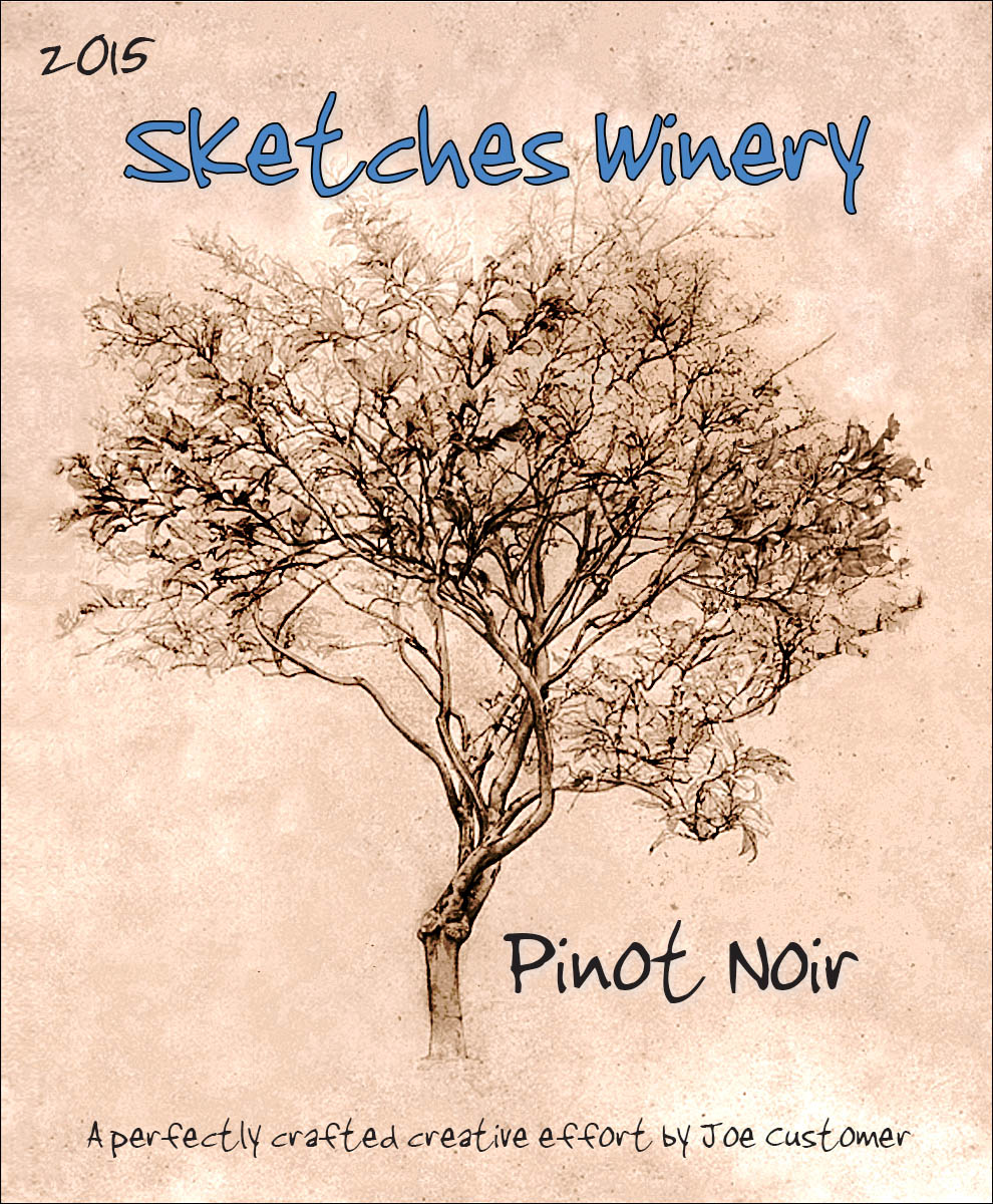 custom reusable wine label of sepia toned pencil drawing of tree