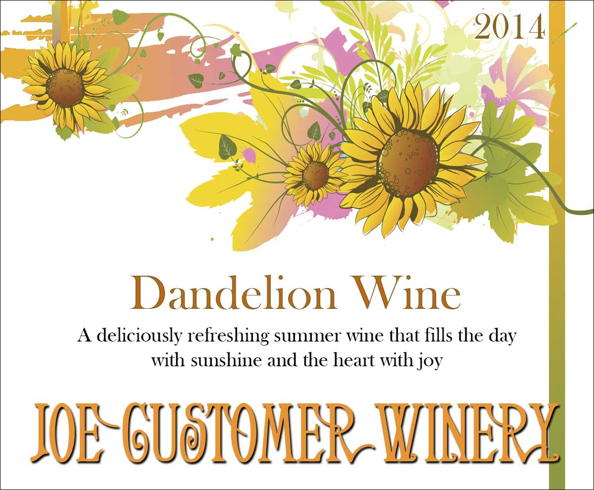 Dandelion reusable wine custom wine label with pretty flowers