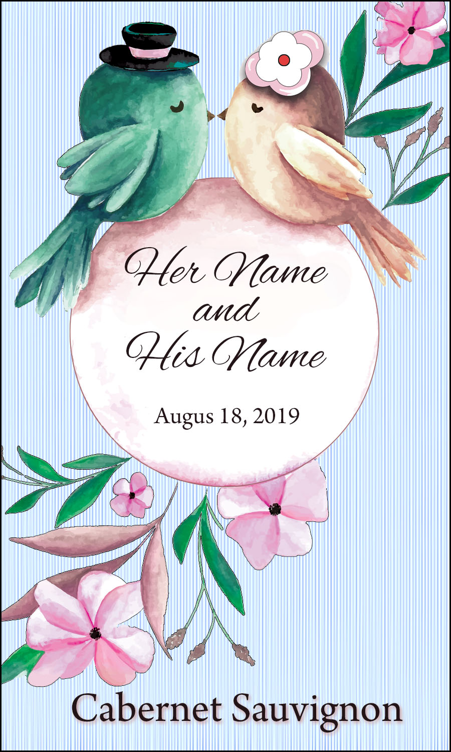 custom wedding wine label of two birds kissing for your personalized wine bottles